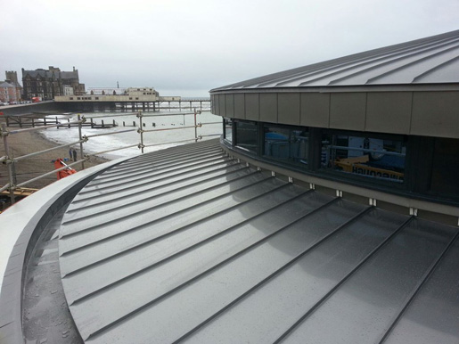 Metal Roofing on the Coast- Aberystwyth Bandstand Roof in Nedzink by Kingsley Roofing