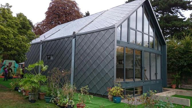 Amphibious House Zinc Shingle Roof and Cladding