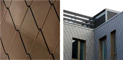 Rhomboid tile zinc shingles