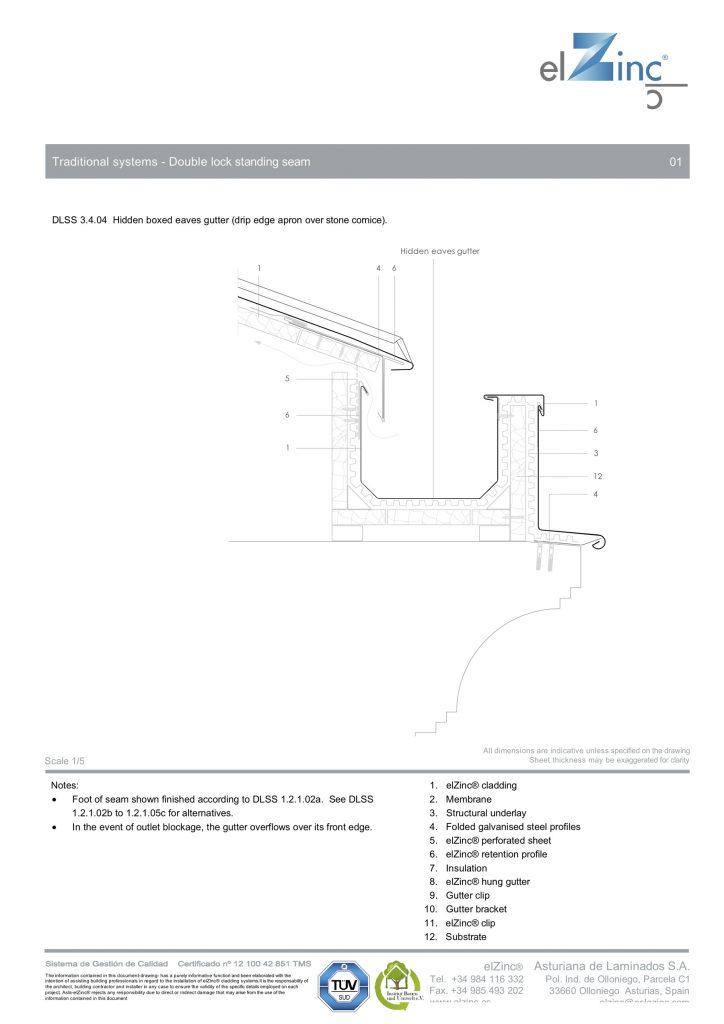 Hidden-Eaves-Box-Gutter-drip-edge-apron-over-stone-cornice-elZinc-DLSS-3.4.04-Eng