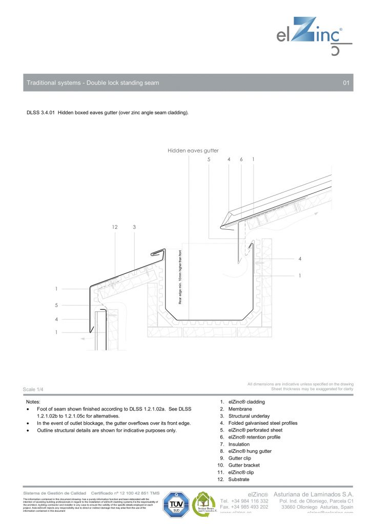 Ventilated Hidden Eaves Box Gutter Detail in Zinc | SIG Zinc & Copper