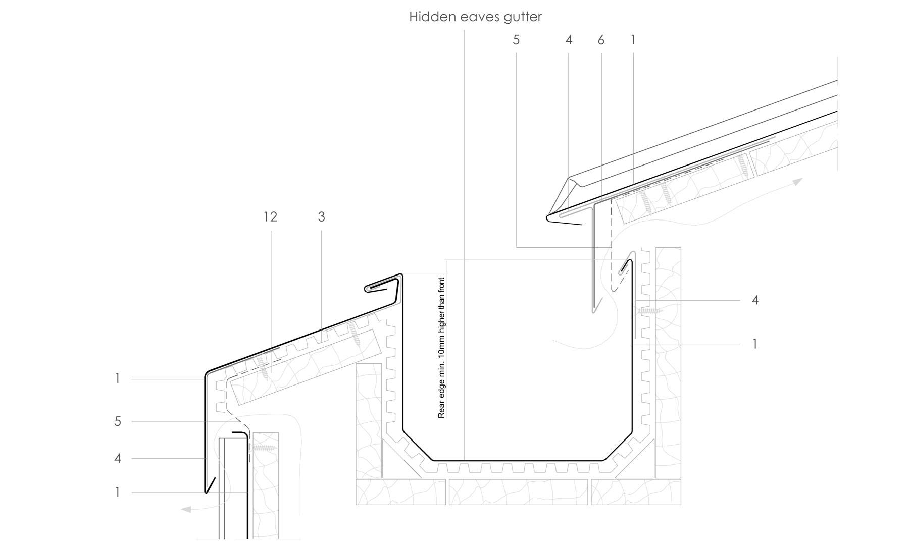 Ventilated Hidden Eaves Box Gutter Detail In Zinc Sig