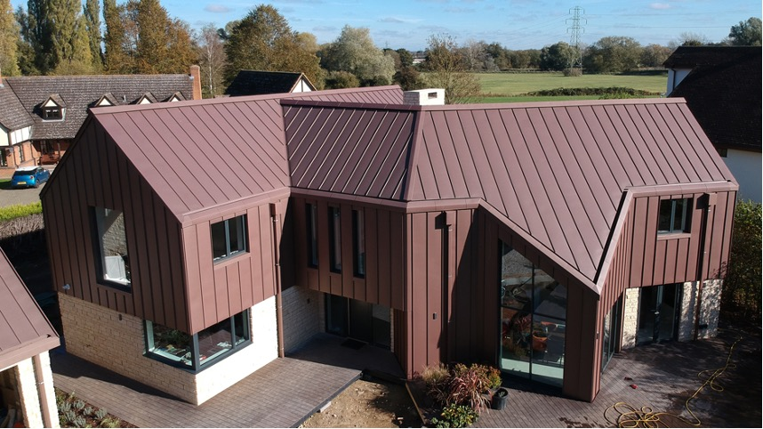Zinc Roof (Ventilated) on a house in Bedfordshire