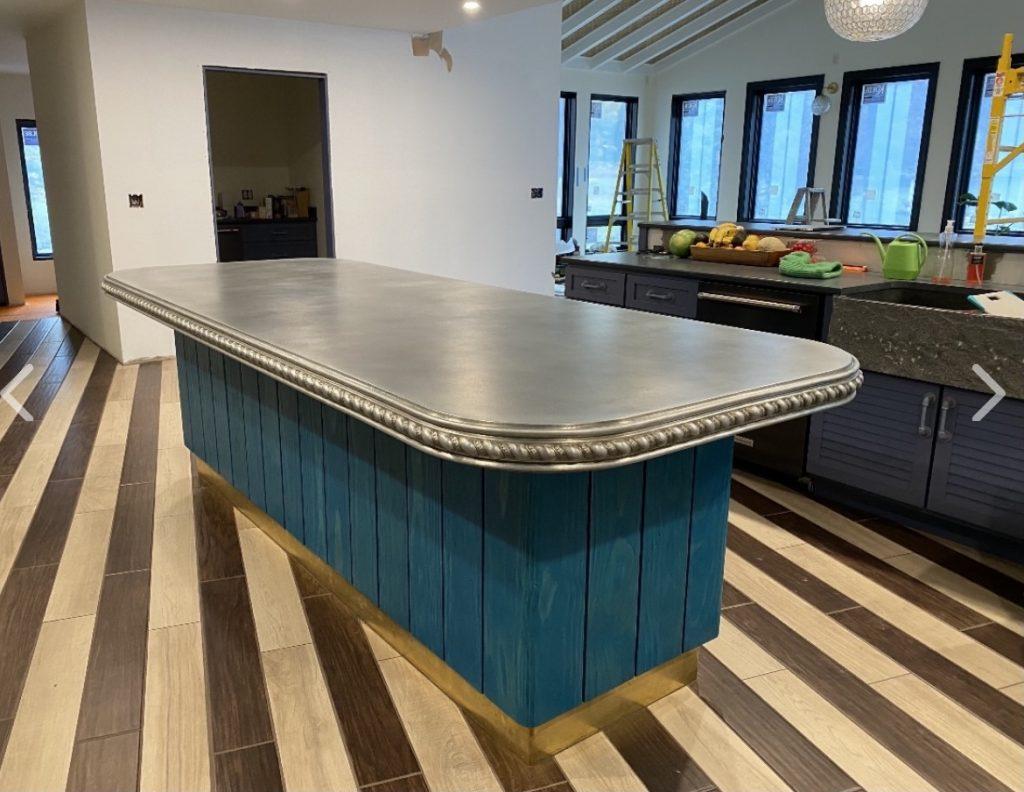 Cast Zinc Kitchen Worktop